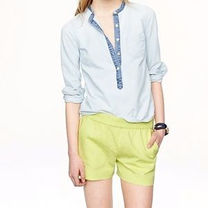 J crew matelasse lime green cotton pull on shorts